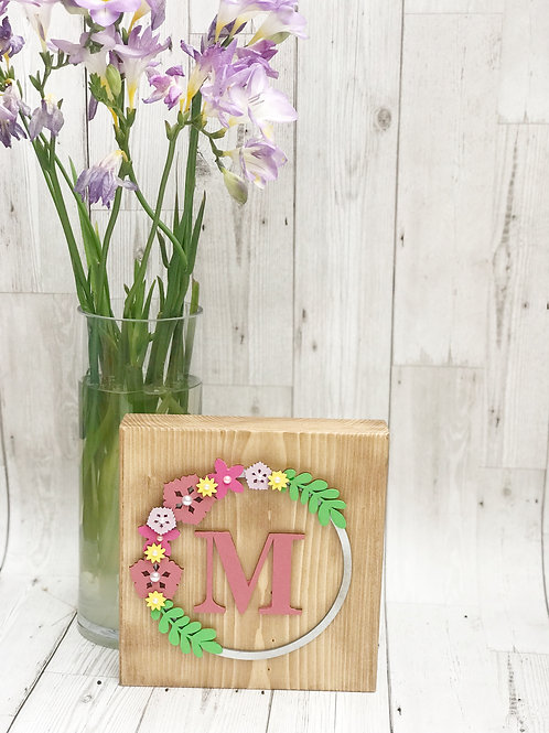 Personalised Floral Initial Wooden Block