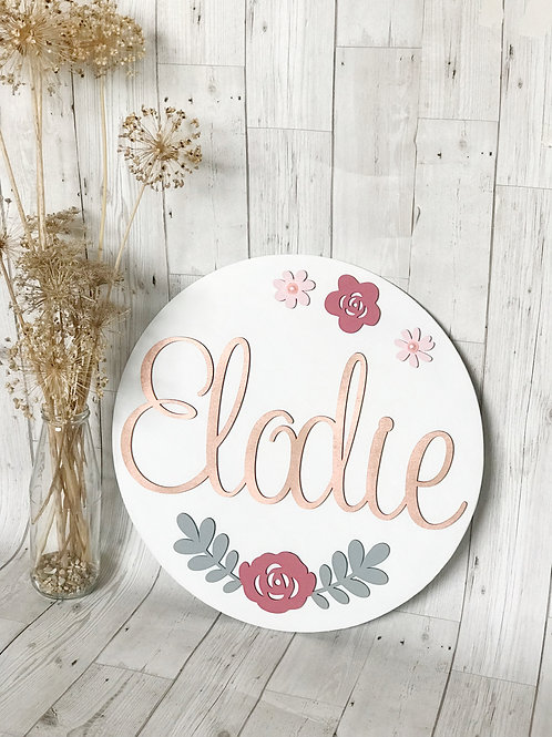 Personalised Wooden Floral Name plaque