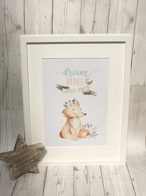 Scandinavian Style Fox A4 Print, Nursery Decor