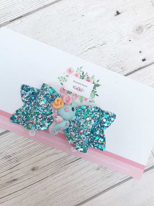 Sea Horse Turquoise Glitter Hair Bow