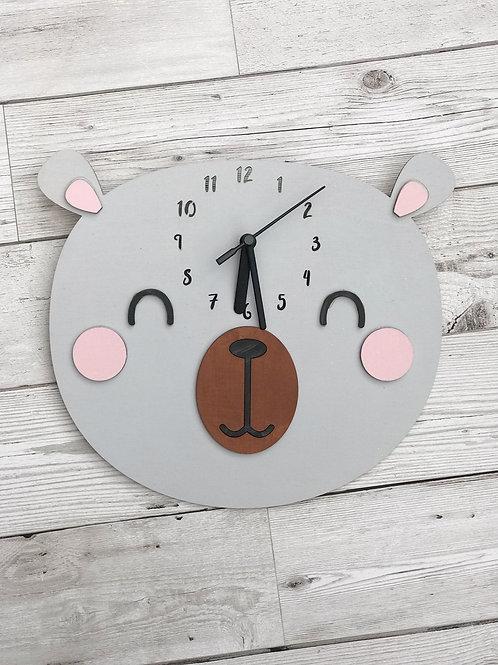Wooden Bear Wall Clock