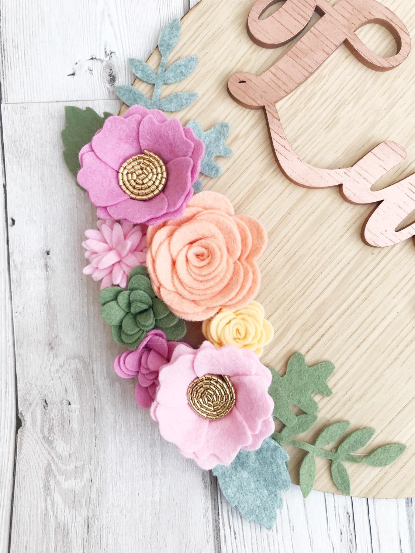 Thumbnail: Personalised Felt Flower Oak wall plaque