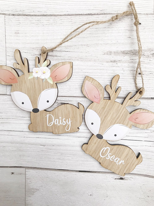 Personalised Woodland Deer Christmas Decoration