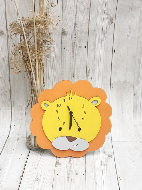 Wooden Animal Lion Clock