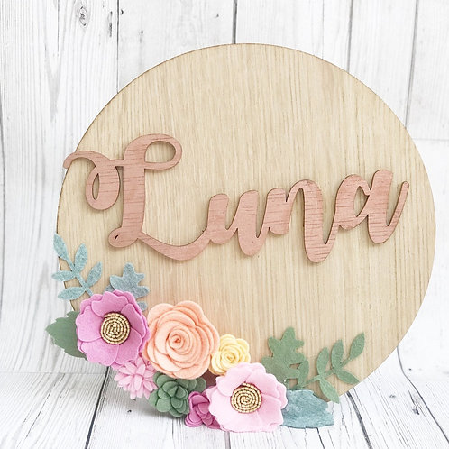 Personalised Felt Flower Oak wall plaque