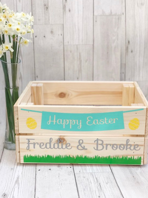 Personalised Wooden Easter Crate