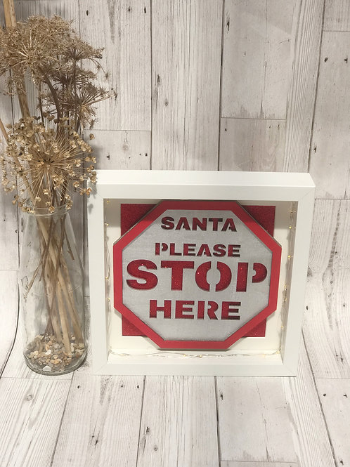 Santa Stop Here Light Up Frame