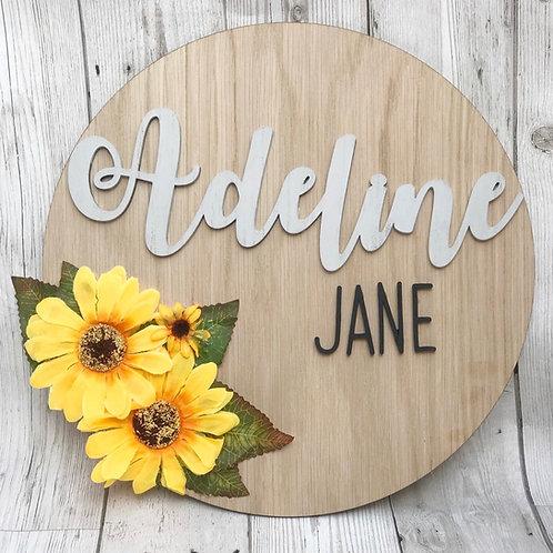 Sunflower Personalised Oak wall plaque