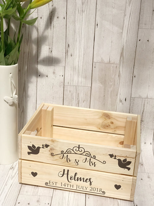 Personalised Wooden Wedding Crate Gift
