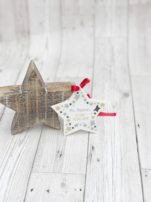 Personalised Teacher Star Decoration