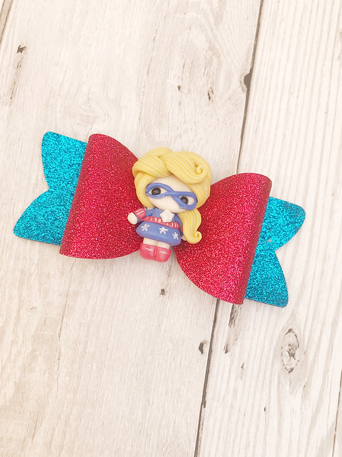 Supergirl Glitter Hairbow