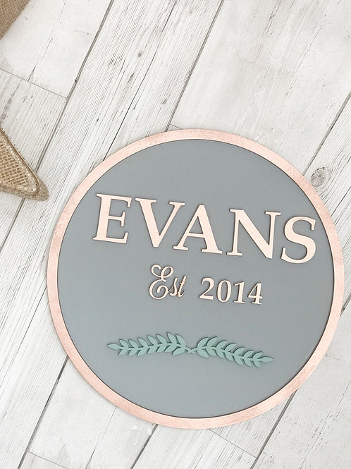 Personalised Family Name Wall Plaque