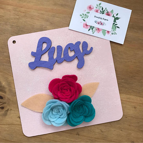 Personalised Floral Wall Plaque