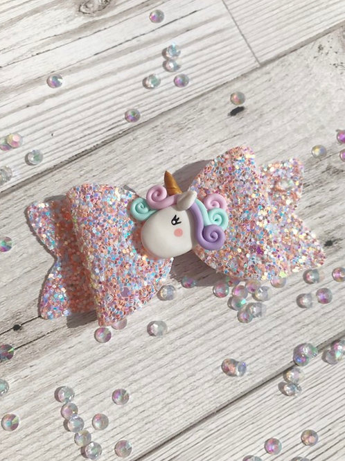 Glitter Unicorn Hair Bow