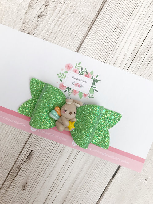 Easter Rabbit Glitter Hair Bow