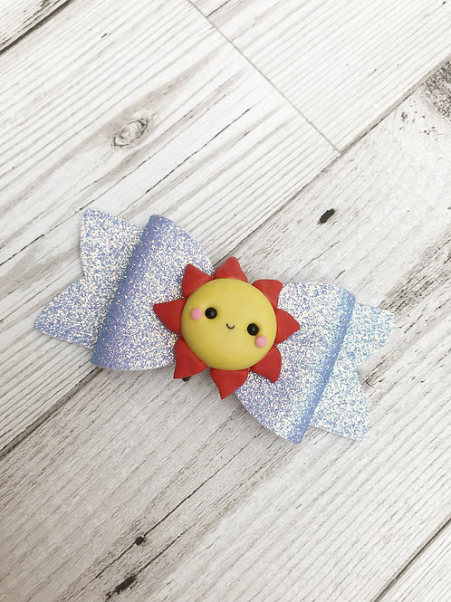 Sunshine Blue Glitter Hair Bow