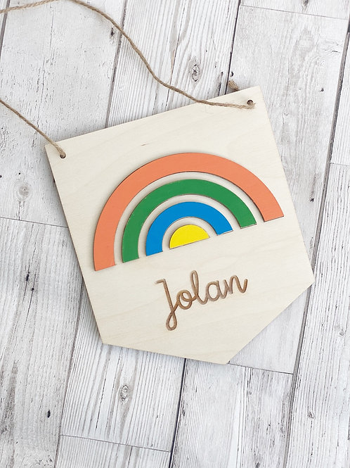Personalised Wooden Rainbow Wall Plaque