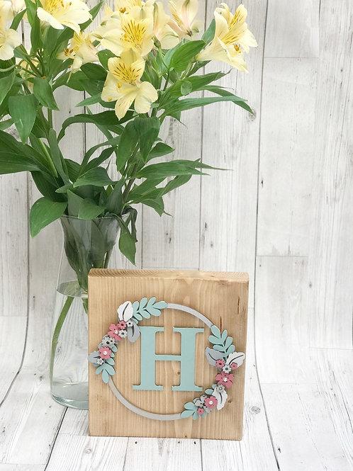 Floral Initial Freestanding wooden block