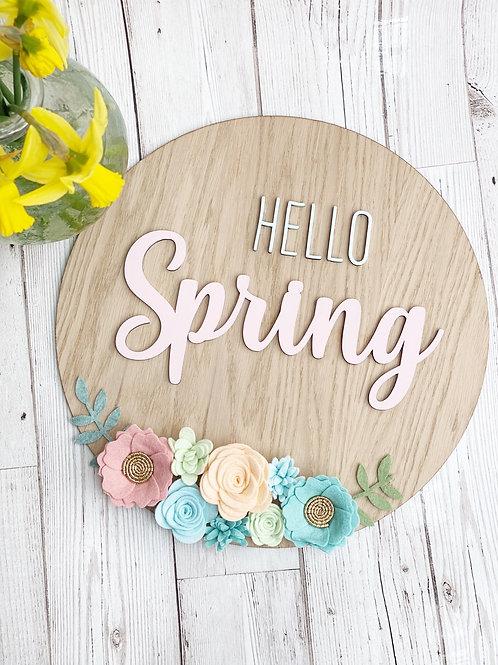 Hello Spring Oak Wall Plaque
