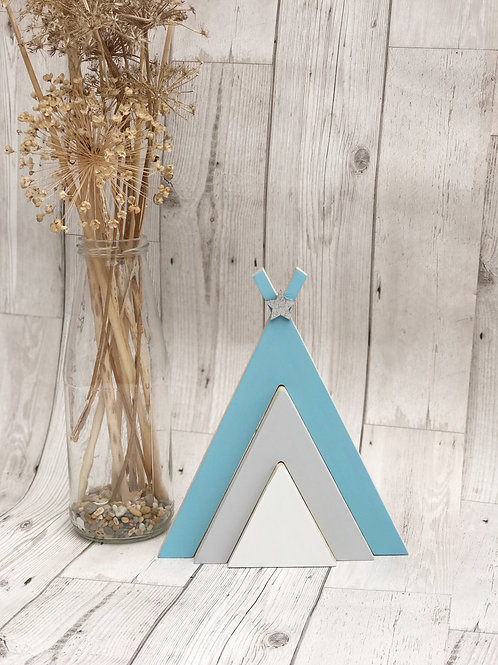 Blue & Grey Stacking Wooden Teepee
