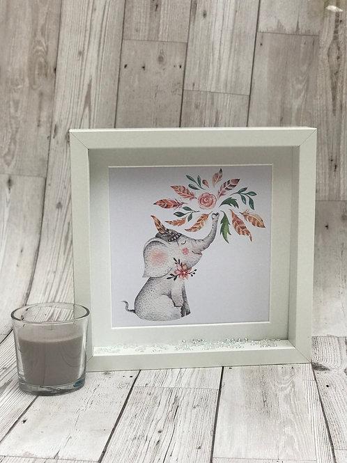 Watercolour Personalised Elephant Box Frame