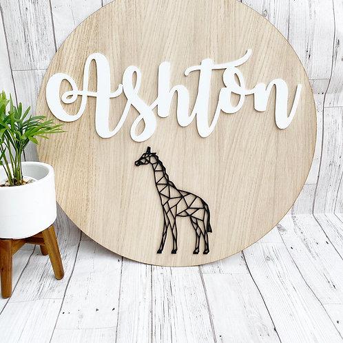 Geometric Giraffe Oak Wall Plaque