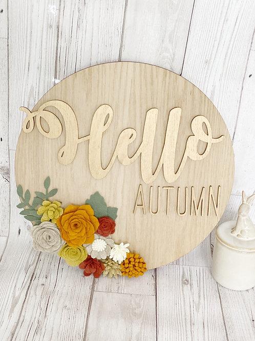 Autumn Themed Felt Flower Oak Wall Plaque