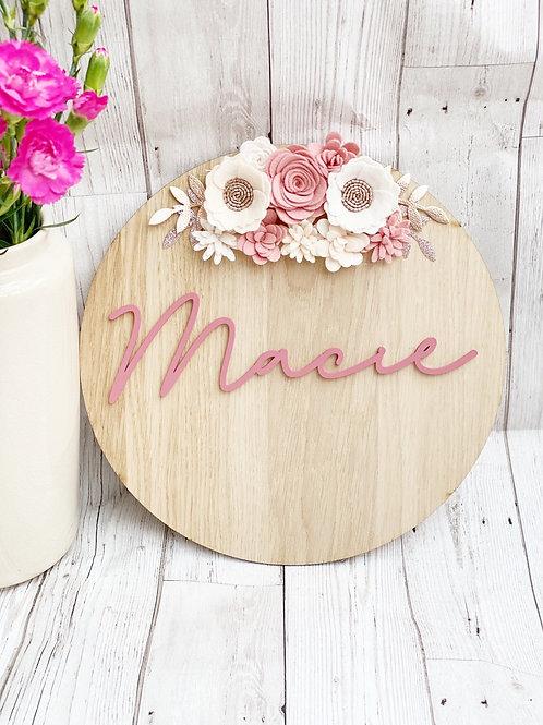 Personalised Felt Flower Wall Plaque