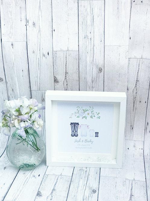 Custom Wellie Boot Print Wedding Gift