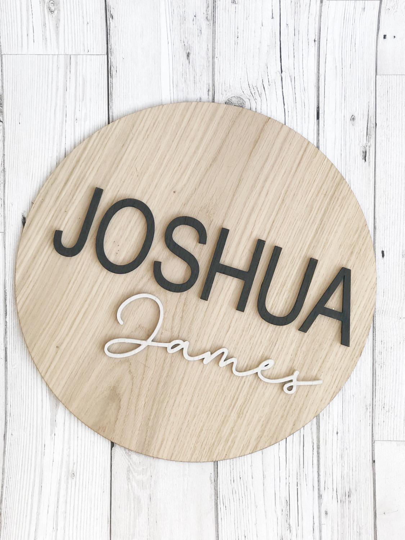 Thumbnail: Personalised Monochrome Name Oak Wall Plaque