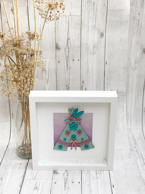 Floral Girls Teepee Box Frame