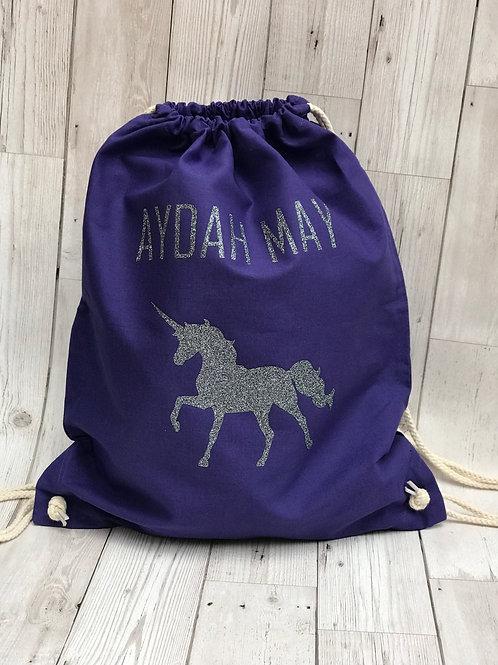 Personalised Children's Unicorn Pe Bag