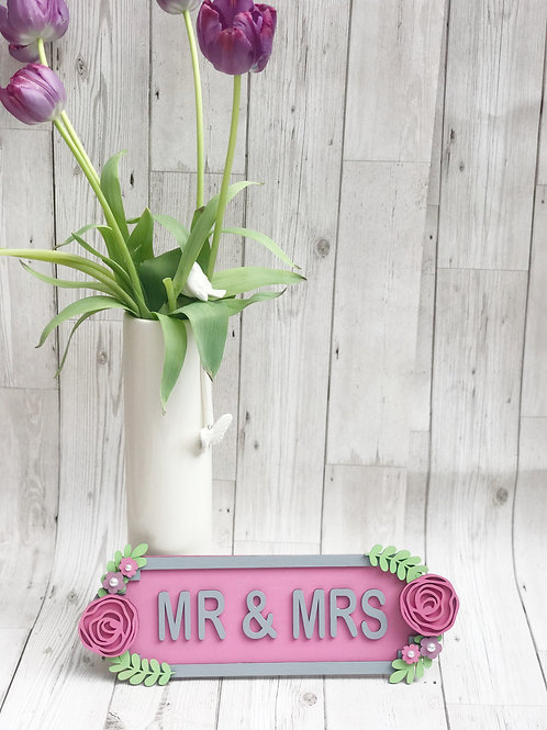Mr and Mrs Wooden Plaque