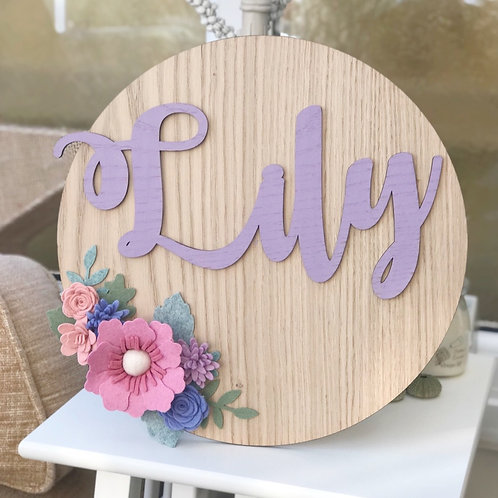 Felt Flower Personalised Oak wall plaque