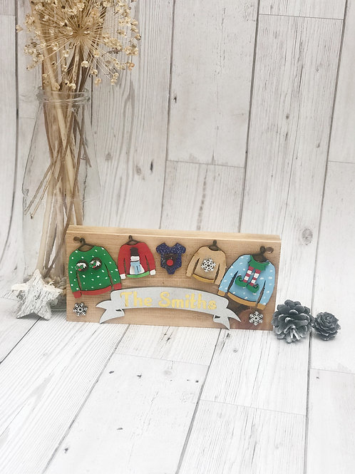 Christmas Jumper Family Plaque