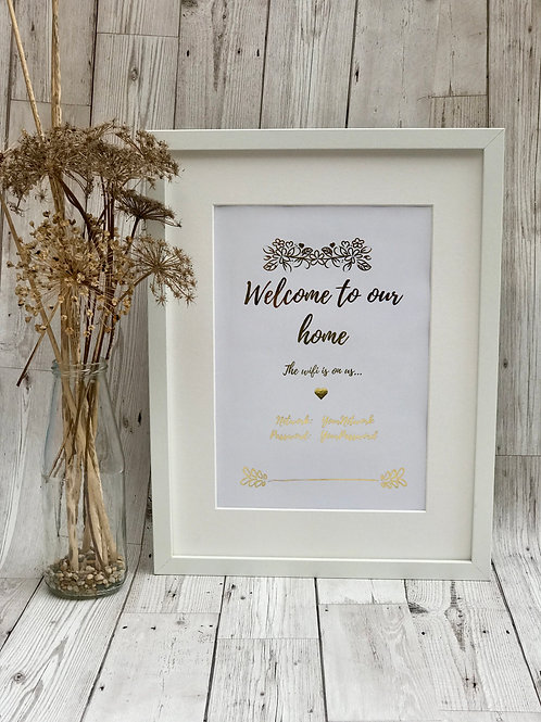 Personalised A4 WiFi Print. Home Decor. Foil Print