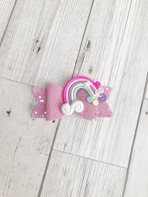 Rainbow Girls Glitter Hair Bow