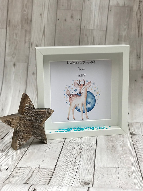 Welcome to the world Personalised Watercolour Box Frame