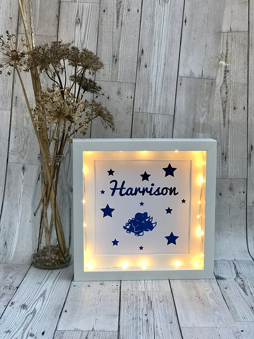 Light Up Personalised Foil Print Box Frame.