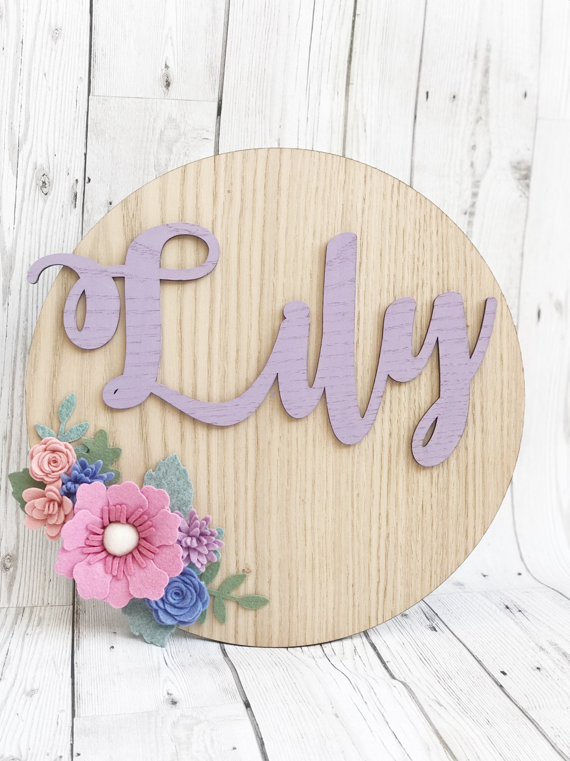 Thumbnail: Felt Flower Personalised Oak wall plaque