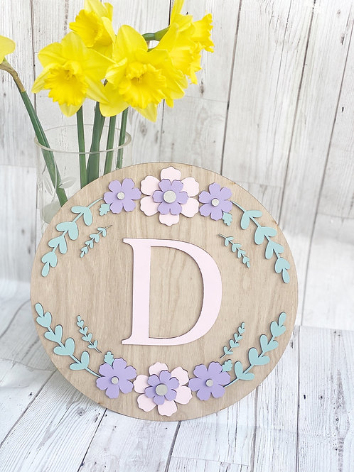 Oak Veneer Floral Wall Plaque