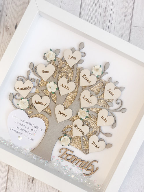 Personalised Wooden Family Tree Box Frame