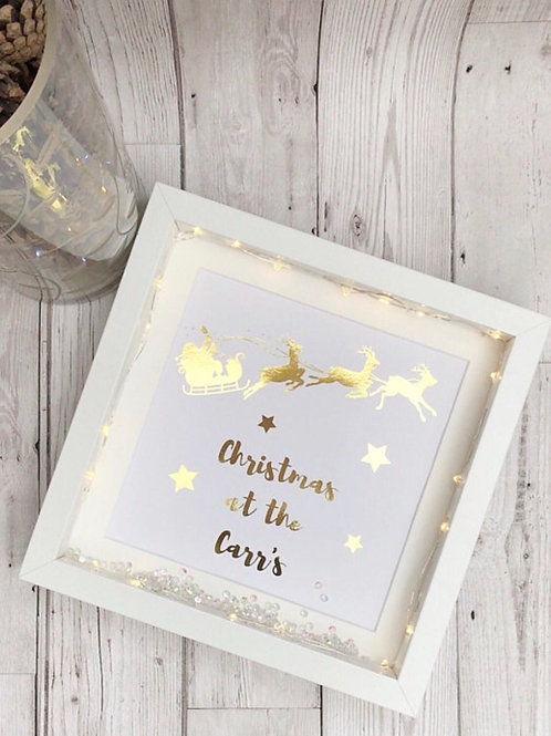 Light Up Personalised Foil Print Christmas Frame