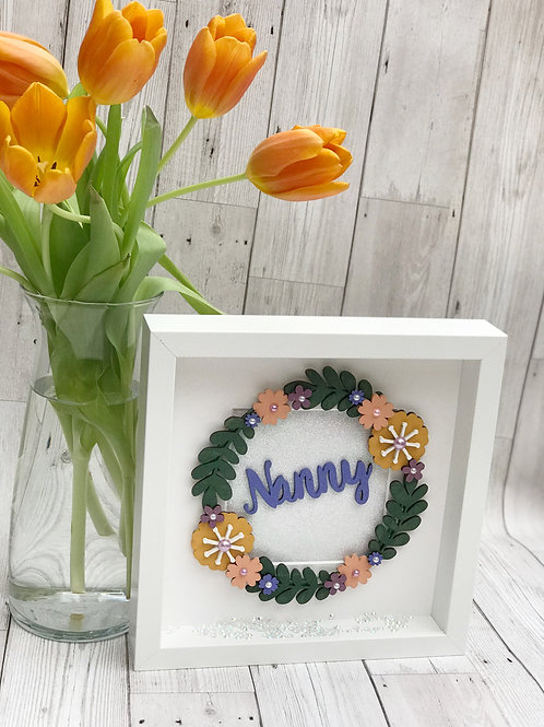 Hand Painted Personalised Floral Wreath Box Frame