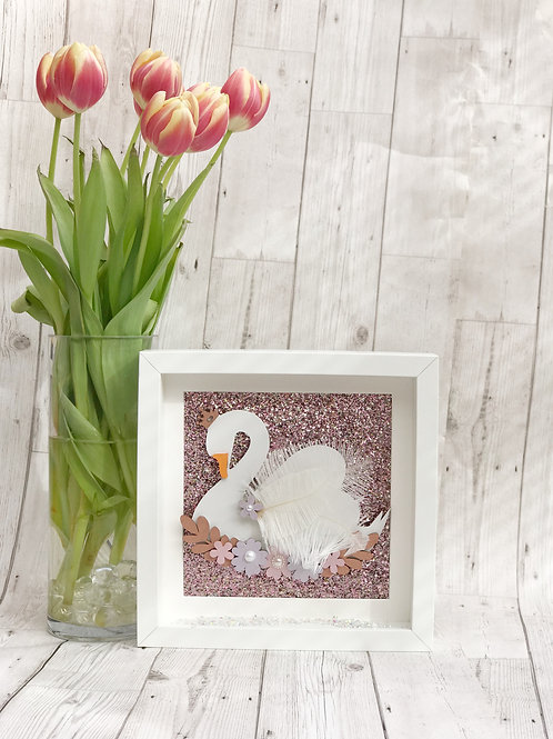 Floral Swan Box Frame