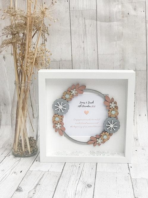 Floral wedding engagement box frame keepsake