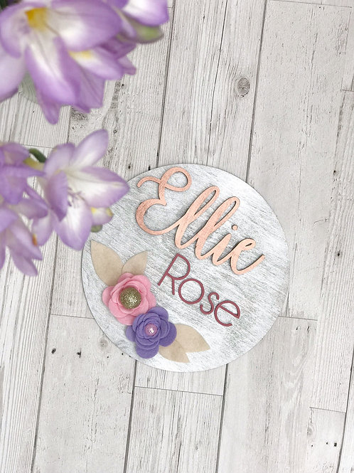 Personalised Floral Plaque