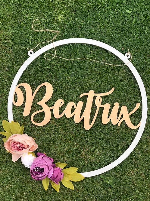 Personalised Wooden Floral Hoop