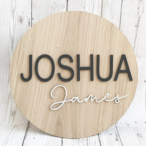 Personalised Monochrome Name Oak Wall Plaque