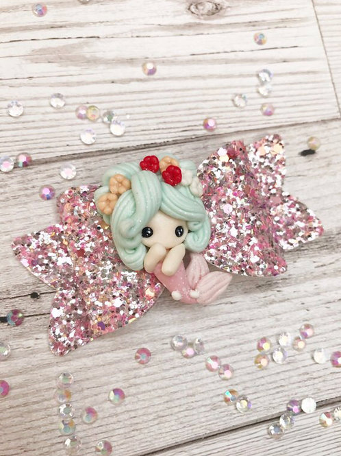 Mermaid Glitter Hair Bow